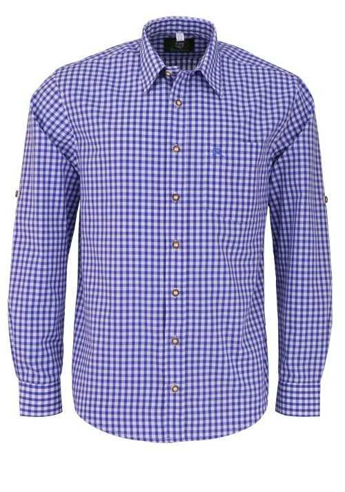 OS-TRACHTEN Regular Fit Hemd Langarm New Kent Kragen Karo blau