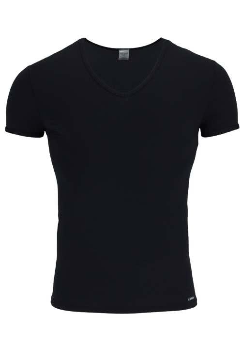 OLAF BENZ Halbarm T-Shirt tiefer V-Ausschnitt Baumwollmischung schwarz