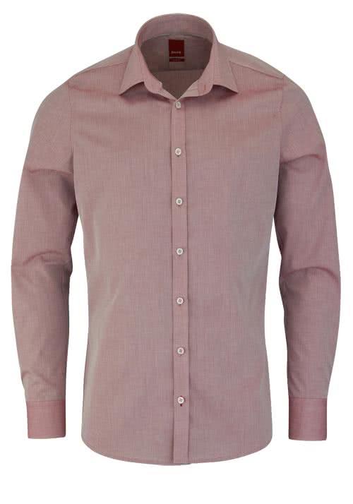 PURE Slim Fit Hemd Langarm New Kent Kragen mit Kragenband rot