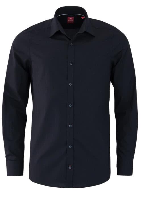 PURE Slim Fit Hemd Langarm New Kent Kragen mit Kragenband schwarz