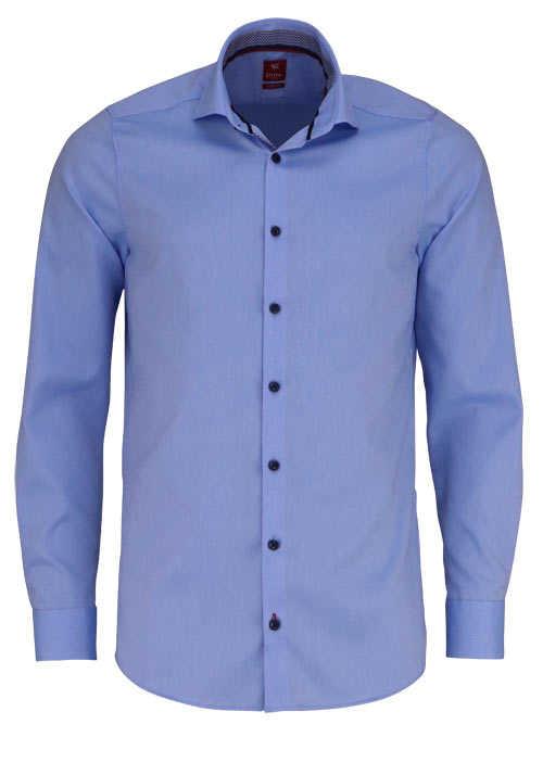 PURE Slim Fit Hemd Langarm Haifisch Kragen mit Patch hellblau