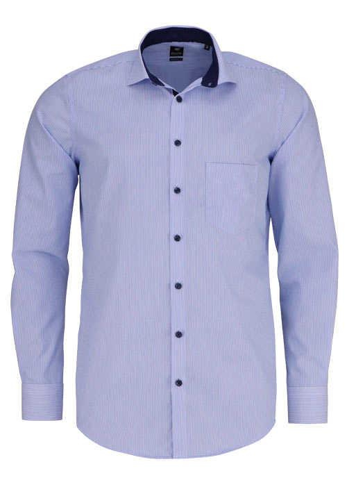 PURE Modern Fit Hemd Langarm Haifisch Kragen mit Patch Streifen blau