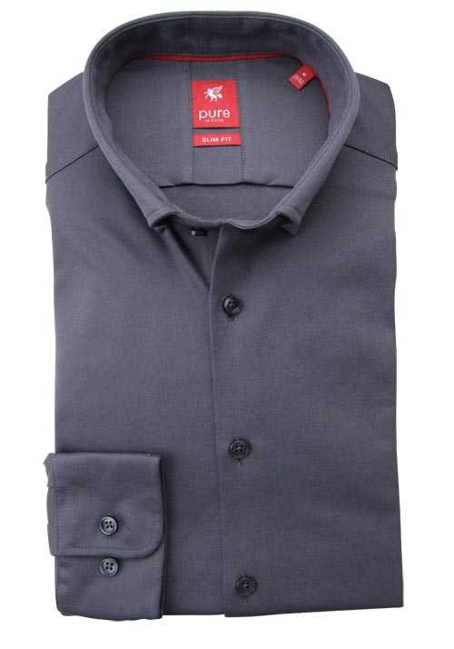 PURE Slim Fit Hemd Langarm Button Down Kragen dunkelgrau