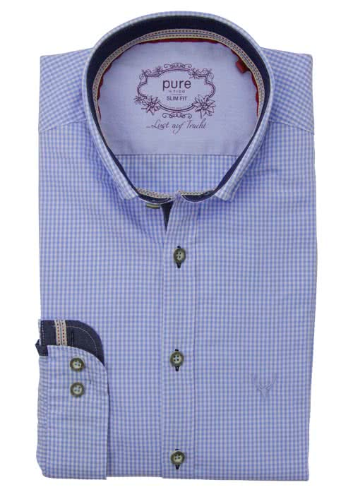 PURE Slim Fit Trachten-Hemd Button Down Kragen Karo hellblau