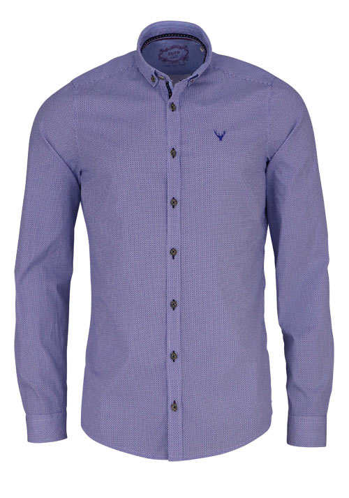 PURE Slim Fit Trachtenhemd Langarm Button Down Kragen Muster blau