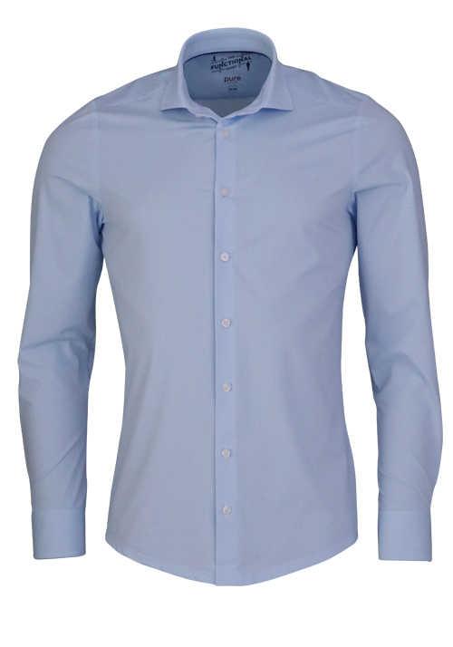 PURE Slim Fit Functional Hemd Langarm Streifen hellblau
