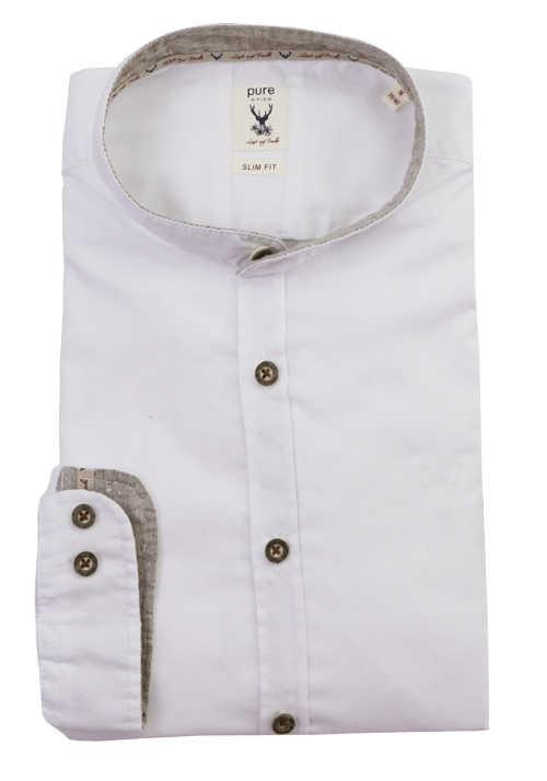 PURE Slim Fit Trachtenhemd Langarm Stehkragen weiß