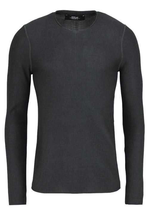 REPLAY Langarm Pullover Rundhals Feinstrick Comfort Fit graphit