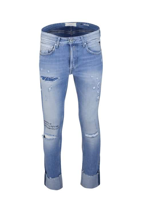 REPLAY Herren Jeans GROVER Straight Stickerei Destroy Used hellblau