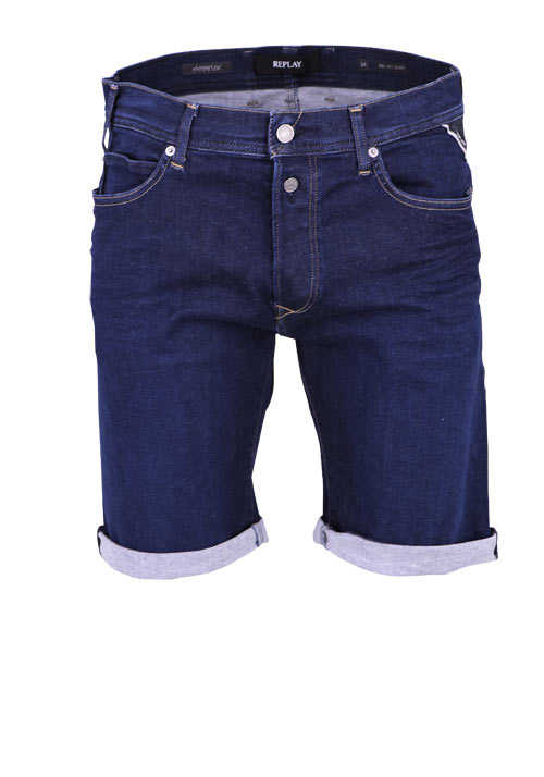 REPLAY Comfort Fit Jeans-Shorts 5 Pocket geknöpft Destroy dunkelblau