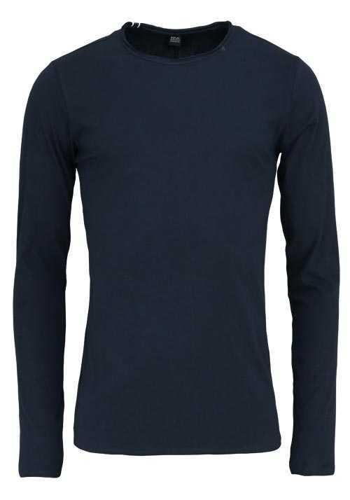 REPLAY Langarm Shirt Rundhals Logo-Detail Baumwolle nachtblau