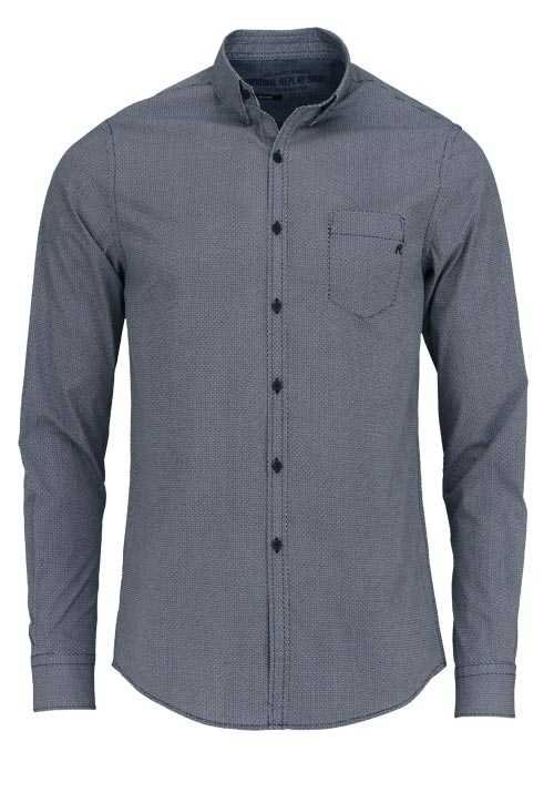 REPLAY Comfort Fit Hemd Langarm Under-Button-Down Muster dunkelblau
