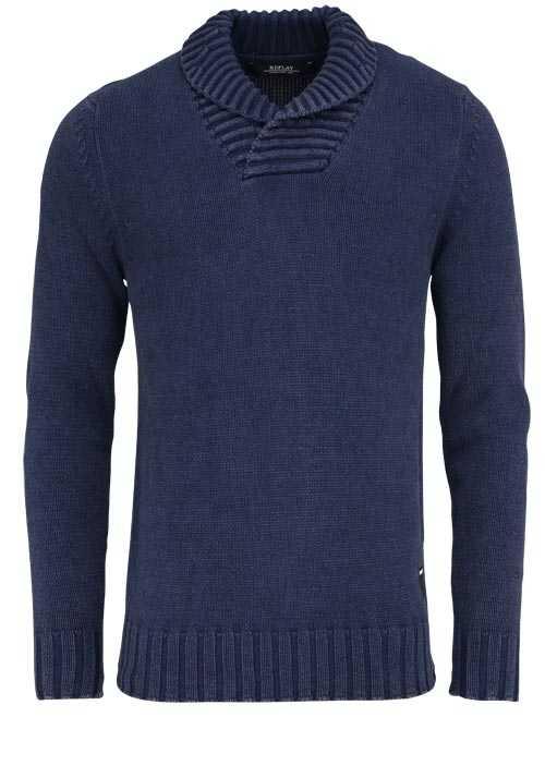 REPLAY Langarm Pullover Stehkragen Strick Baumwolle Uni nachtblau