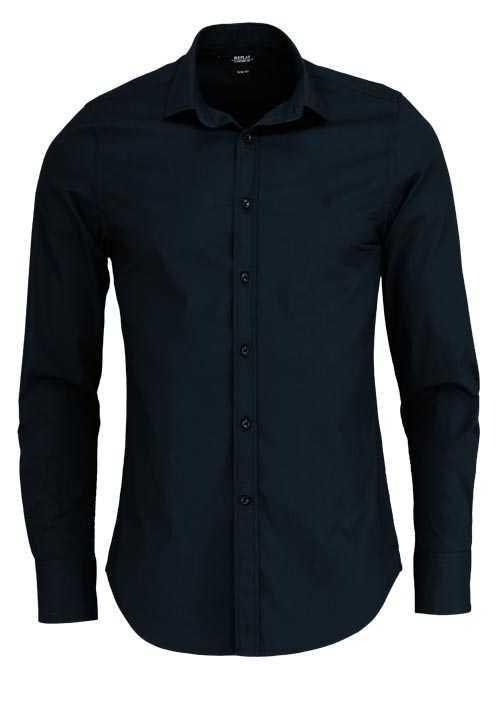 REPLAY Slim Fit Hemd New Kent Kragen Baumwolle schwarz