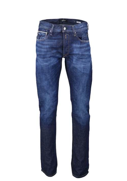 REPLAY Jeans RONAS Used Destroy Ziernähte dunkelblau