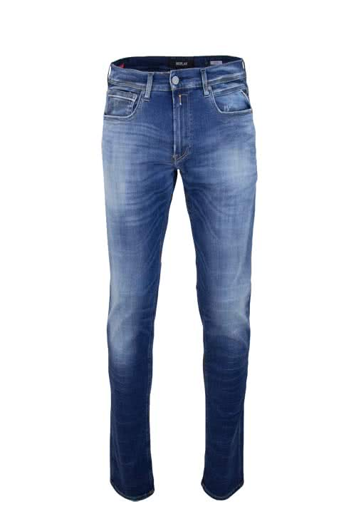 REPLAY Herren Jeans GROVER Straight Hyperflex Used rauchblau
