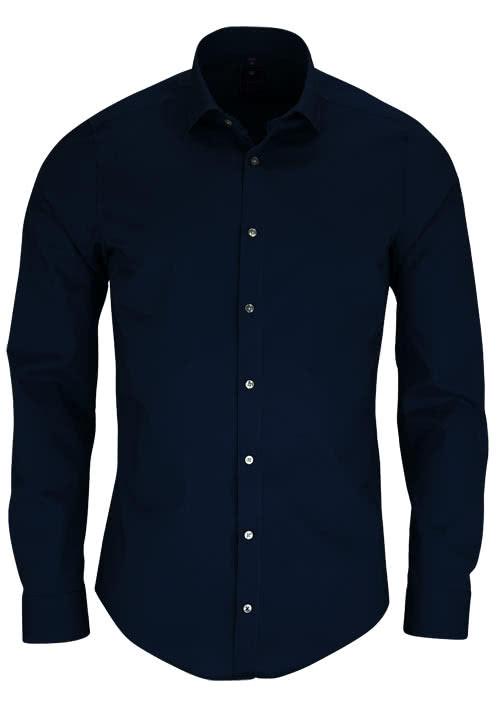 REDMOND 4 Limited Hemd Langarm Popeline Stretch nachtblau