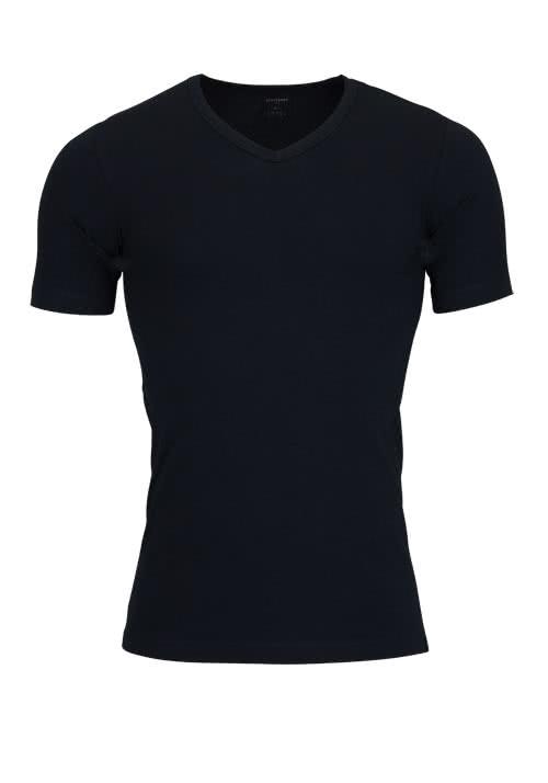 SCHIESSER 95/5 T-Shirt V-Ausschnitt Baumwollmischung schwarz