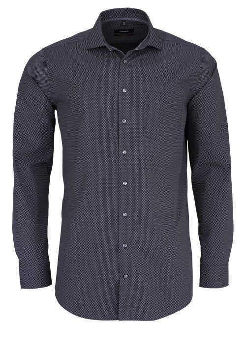 SEIDENSTICKER Tailored Hemd extra langer Arm Punkte dunkelgrau
