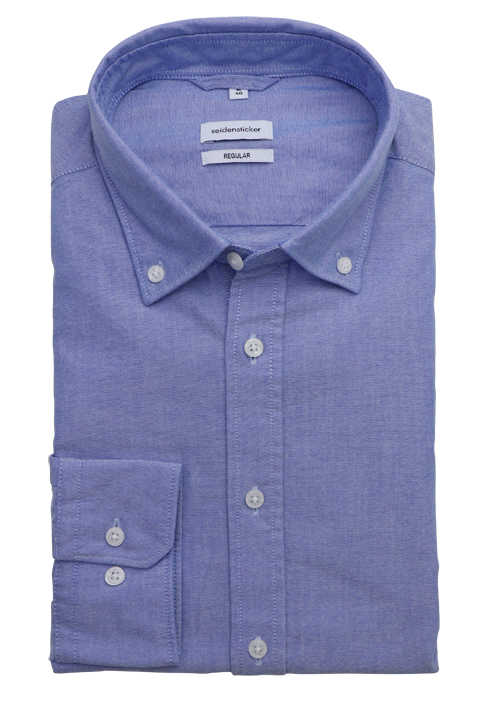 SEIDENSTICKER Regular Hemd Langarm Button Down Kragen Oxford blau