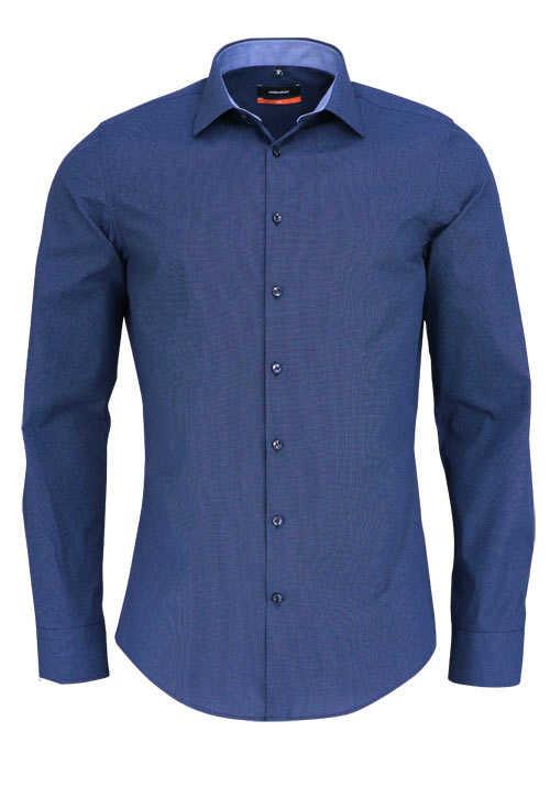 SEIDENSTICKER Slim Hemd extra langer Arm Punkte dunkelblau