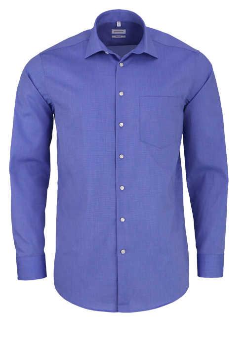 SEIDENSTICKER Modern Hemd extra langer Arm Fil à Fil mittelblau