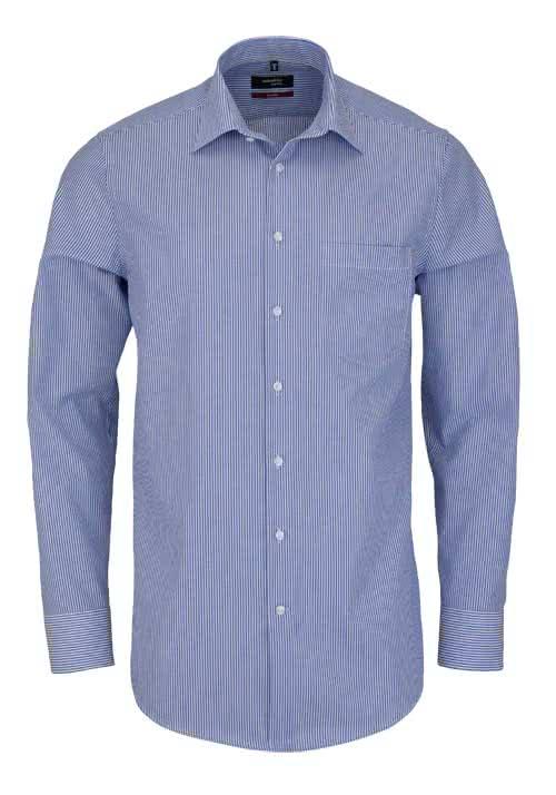 SEIDENSTICKER Modern Hemd extra langer Arm Streifen mittelblau