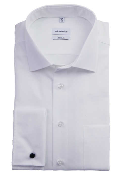 SEIDESTICKER Regular Hemd Langarm ohne Manschettenknopf Popeline weiß