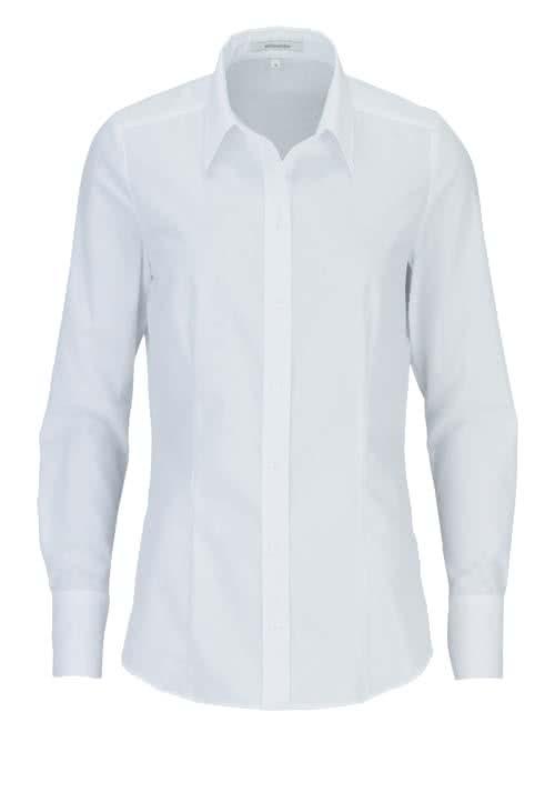 SEIDENSTICKER Regular Fit Bluse Langarm mit Hemdkragen Popeline weiß