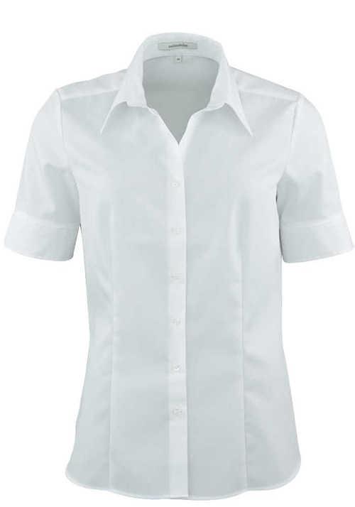 SEIDENSTICKER Regular Fit Bluse Halbarm Hemdenkragen Popeline weiß
