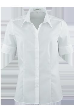 SEIDENSTICKER Modern Bluse Halbarm Hemdenkragen Popeline weiß