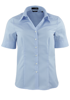 SEIDENSTICKER Regular Fit Bluse Halbarm Hemdenkragen Fil a Fil hellblau