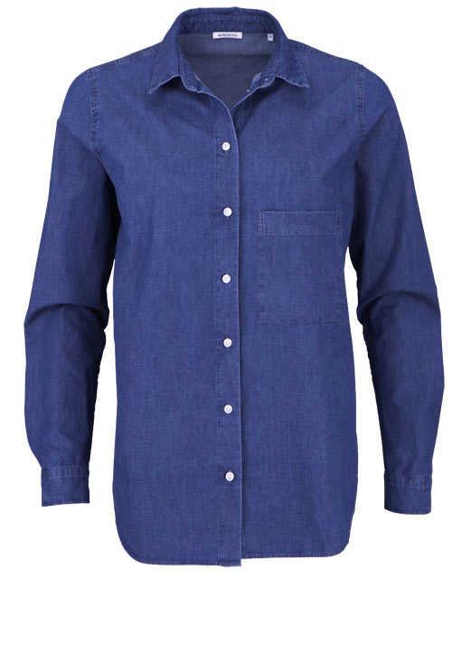 SEIDENSTICKER Modern Bluse Langarm Hemdkragen dunkelblau