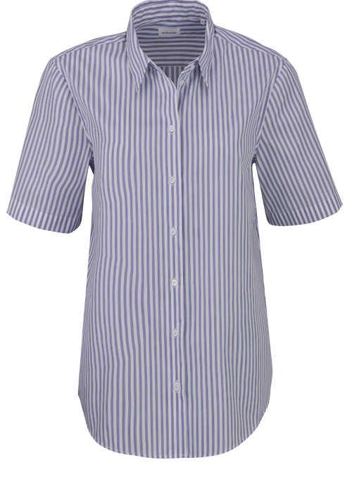 SEIDENSTICKER Slim Fit Bluse Halbarm mit Hemdkragen Streifen blau