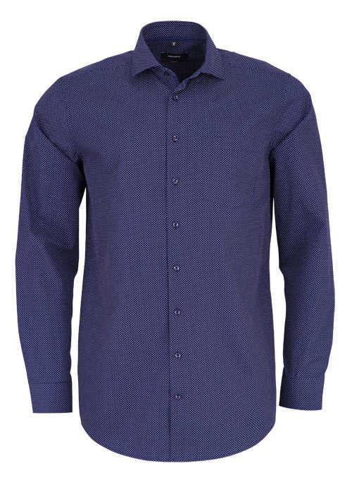 SEIDENSTICKER Modern Hemd Langarm Brusttasche Punkte dunkelblau