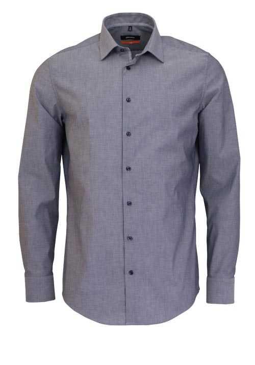 SEIDENSTICKER Slim Hemd extra langer Arm New Kent Kragen mittelblau
