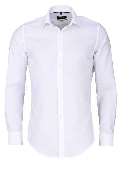 SEIDENSTICKER Slim Hemd extra langer Arm Struktur weiß