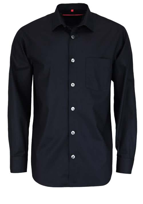 SIGNUM Classic Fit Hemd Langarm New Kent Kragen Jacquard schwarz