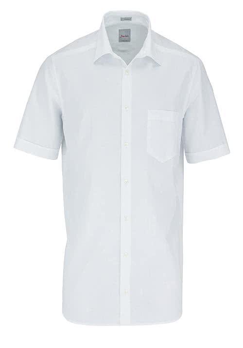 SIGNUM Modern Fit Hemd Halbarm Uni weiß