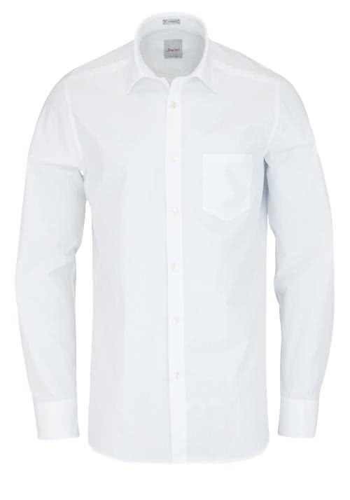 SIGNUM Modern Fit Hemd Langarm New Kent Kragen Popeline weiß
