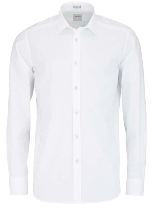 SIGNUM Modern Fit Hemd Langarm Basic Kent Kragen weiß