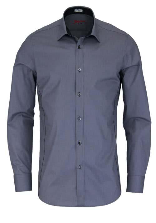 SIGNUM Slim Fit Hemd Langarm New Kent Kragen Stretch grau