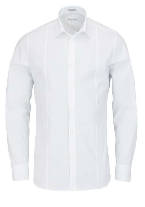 SIGNUM Slim Fit Hemd Langarm New Kent Kragen Stretch weiß