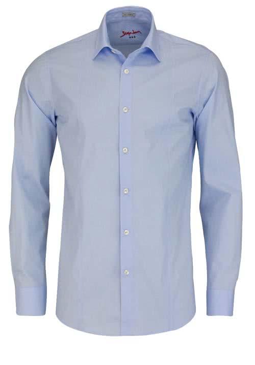 SIGNUM Slim Fit Hemd Langarm New Kent Kragen Stretch hellblau