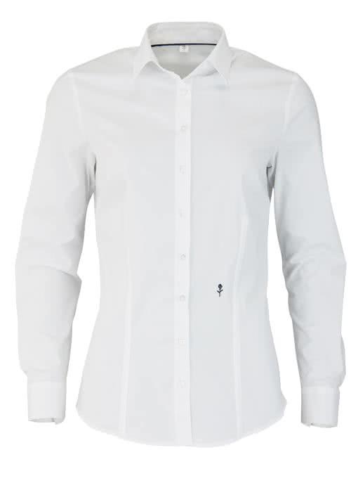 SEIDENSTICKER Slim Bluse Langarm Hemdkragen Popeline Stretch weiß