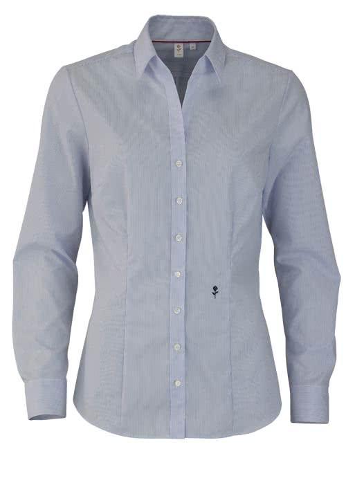 SEIDENSTICKER Slim Bluse Langarm mit Kragenband Streifen hellblau