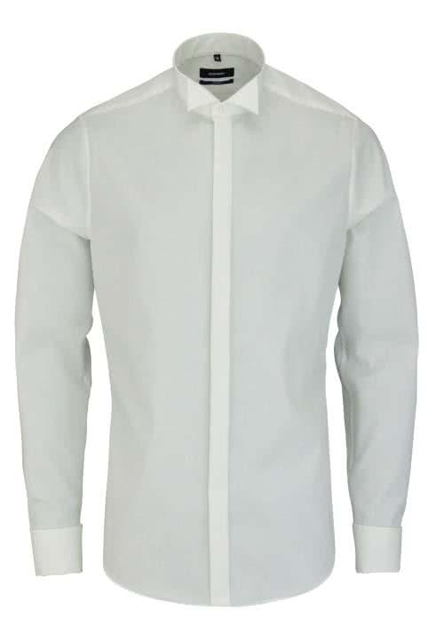 SEIDENSTICKER Tailored Galahemd Langarm ohne Manschettenknopf beige
