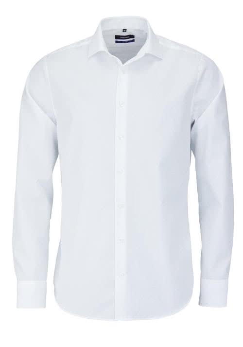 SEIDENSTICKER Tailored Hemd Langarm Haifischkragen Popeline weiß