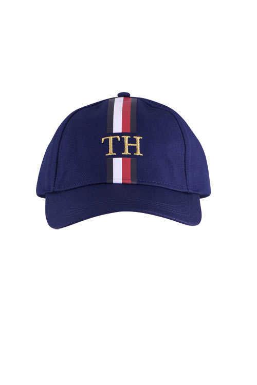 TOMMY HILFIGER Cap Logo-Detail Zierstreifen verstellbar nachtblau
