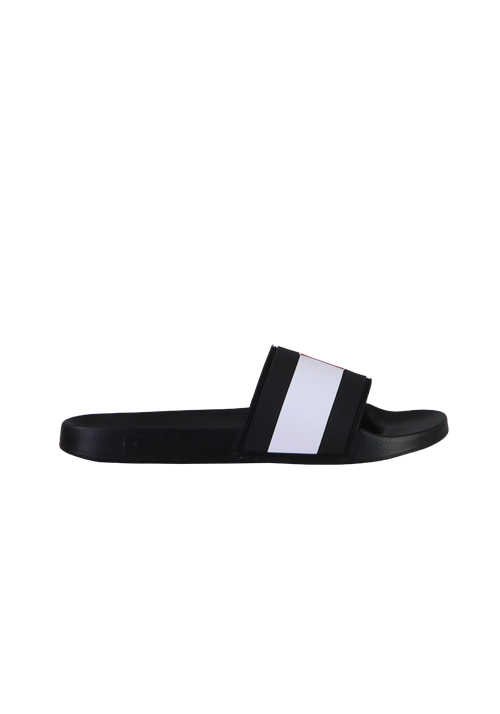TOMMY HILFIGER Sandale geformtes Fußbett Logo-Detail schwarz